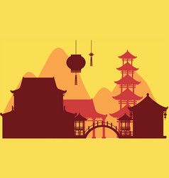 Chinese theme background with temple buildings vector