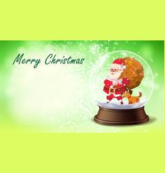 Christmas card snow globe santa claus vector