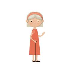 Colorful full body elderly woman in walking stick vector