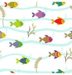 Colorful sea fishes Underwater nature Seamless vector