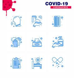 Coronavirus prevention 25 icon set blue box vector