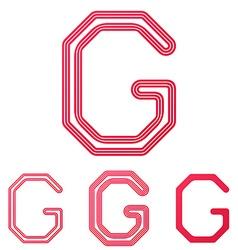 Crimson line g logo design set vector