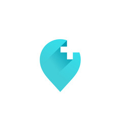 Cross plus geotag or location pin medical logo vector