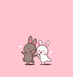 cute rabbits couple happy easter bunnies having vector image