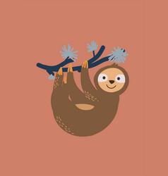 Cute sloth on tree branch vector