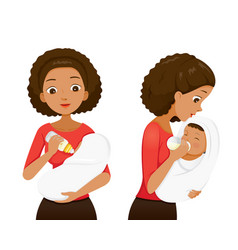 dark skin mother feeding baby with baby bottle vector image