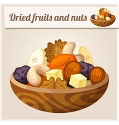 Detailed icon dried fruits and nuts vector
