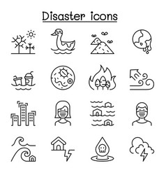 Disaster pollution icon set in thin line style vector