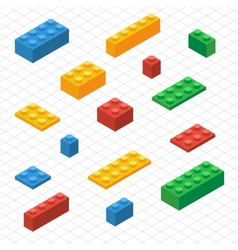 Do your self set lego blocks in isometric view vector