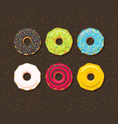 donut in glaze icons set vector image