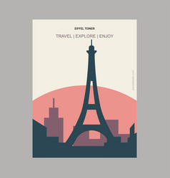 eiffel tower paris france vintage style landmark vector image