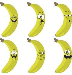 Emotion cartoon yellow banana set 015 vector image