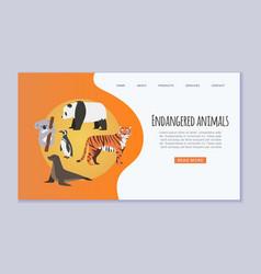 Endangered vanishing wildlife animals website vector