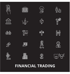 financial trading editable line icons set vector image