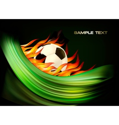 Fire football background with a soccer ball vector image
