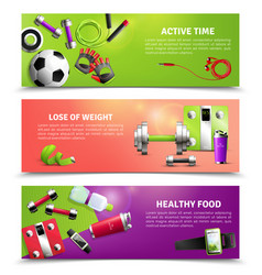 Fitness gym banners set vector