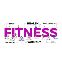 Fitness lettering title vector