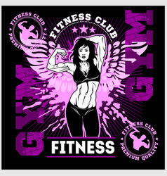 fitness or gym center emblem athletic woman vector image
