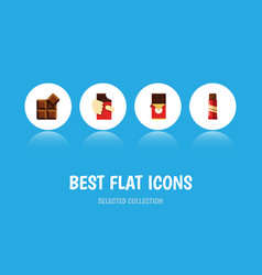 flat icon sweet set of sweet cocoa shaped box vector image