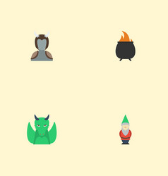 Flat icons gnome hell dinosaur and other vector