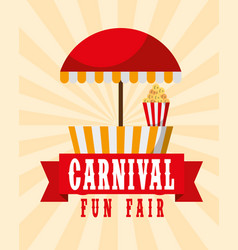 Food booth retro poster carnival fun fair vector