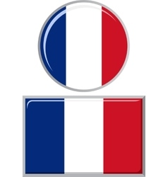 French round and square icon flag vector