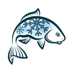 Frozen fish design vector