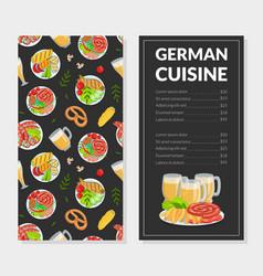 German cuisine menu template traditional bavarian vector