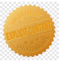 Golden explicit content award stamp vector