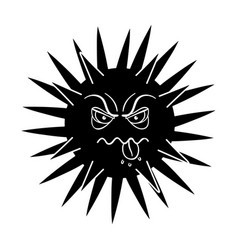 Green virus icon in black style isolated on white vector