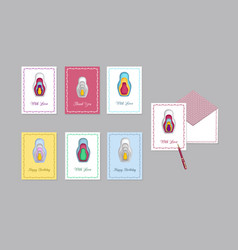 greetings card nest doll isolated on a light vector image