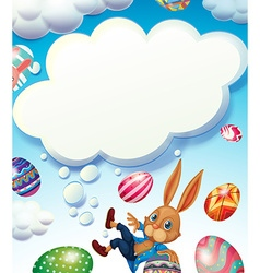 Happy easter theme with bunny in the sky vector