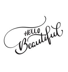 hello beautiful text on white background vector image