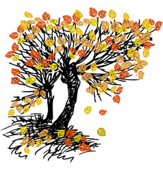 Image sketch deciduous tree with autumn foliage vector