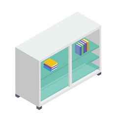 Isometric bookshelf vector