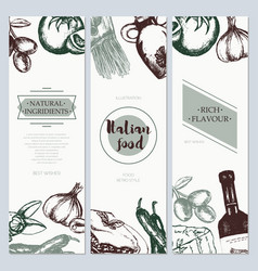 Italian food - color hand drawn square flyer vector
