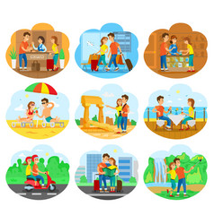 Journey set for travel agency promo vector