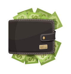 leather wallet icon full of money emblem vector image