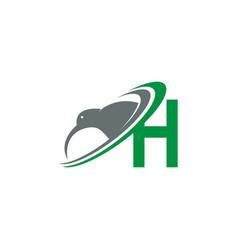 Letter h with kiwi bird logo icon design vector