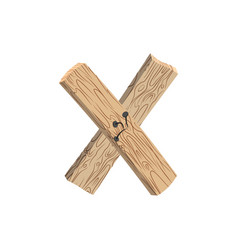 Letter x wood board font plank and nails alphabet vector