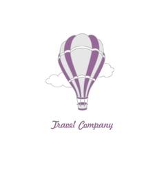 Logo hot air balloon on sky vector