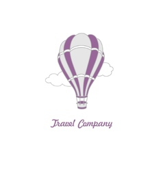 Logo of hot air balloon on the sky vector