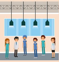 medical staff doctors standing in room lamps vector image