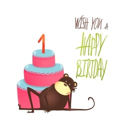 Monkey Cake One Years Old with Happy Birthday vector image