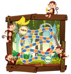 Monkey in jungle board game vector