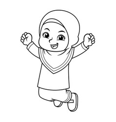 Moslem girl jumping bw vector