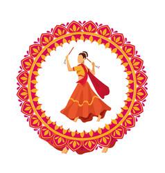Navratri dancer female traditional character vector