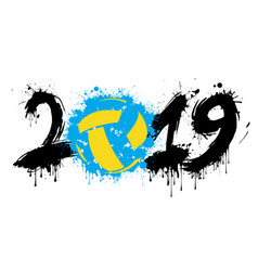 Number 2019 and a volleyball ball from blots vector