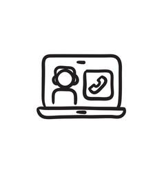 Online education sketch icon vector