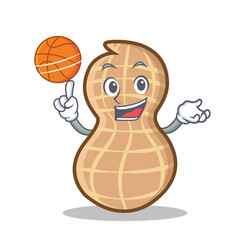 playing basketball peanut character cartoon style vector image
